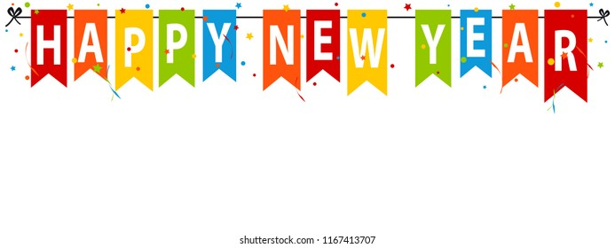 Colorful Party Flags Happy New Year - Vector Illustration With Confetti And Streamers