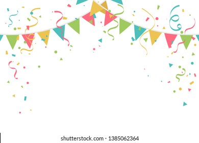 Colorful Party Flags With Streamer Ribbon And Confetti On White Background. Celebration & Party. Surprise Banner. festa junina brazil. Vector Illustration