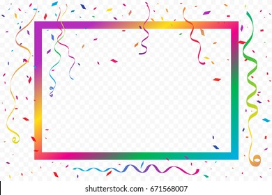 Colorful Party Frame And Confetti Falling On White Background. Birthday & Celebration Event. Multicolored. Vector Illustration