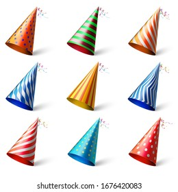 Colorful party hats. Realistic different festive headwear with various patterns. Cone shaped cardboard head wear. Birthday celebration accessories isolated on white background.