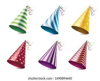 Colorful party hats realistic vector illustrations set. Different festive headwear with various patterns. Cone shaped cardboard head wear isolated on white background. Birthday celebration accessory