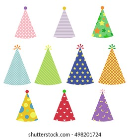 Colorful Party Hats Set with Different Pattern.Party Stuff and Decorating.