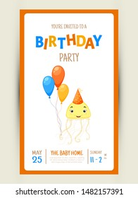 Colorful Party invitation card with a cute jellyfish on a white background. Celebration Event & Happy Birthday. Multicolored. Vector