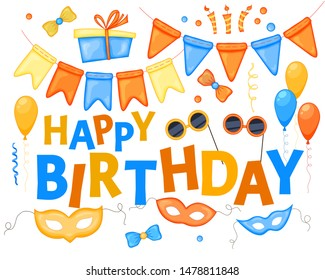 """Colorful Party items on a white background. Celebration Event & Happy Birthday. Inscription """"Carnival"""". Multicolored. Vector"""