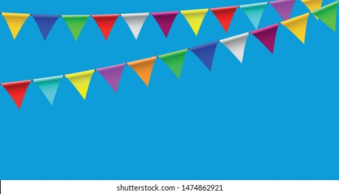 Colorful party pennants chain, garland with flags, Holiday background with hanging colorful flags,  Vector illustration isolated on blue background