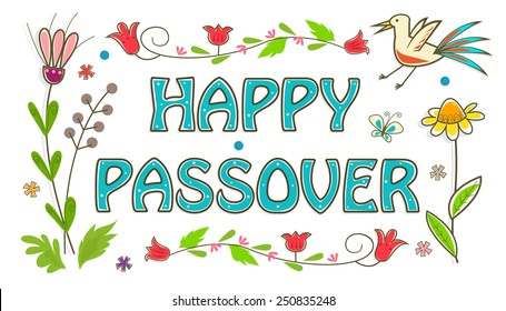 Colorful Passover Sign - Floral banner with happy Passover text in the center. Eps10