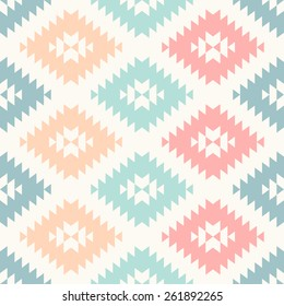 colorful pastel navajo geometric flat pattern. seamless vector background