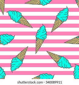 Colorful pastel pattern of ice cream on a striped background in pop art style