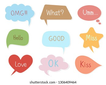 Colorful pastel speech bubble with text on white isolated background. Sweet and cute vector art pattern for chat, message, template, sticker and other design in minimal trendy vintage retro concept.