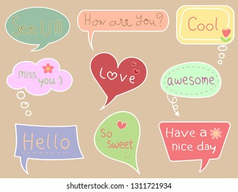 Colorful pastel speech bubble with text on brown isolated background. Sweet and cute vector art pattern for chat, message, template, sticker and other design in minimal trendy vintage retro concept.