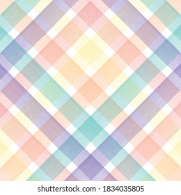 Colorful Pastel Watercolor Checkered Pattern.