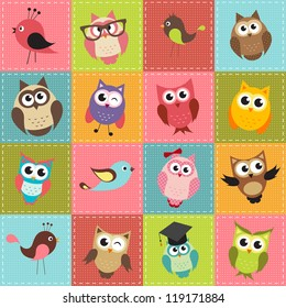 colorful patchwork background with owls