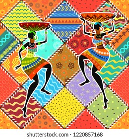 colorful patchwork seamless pattern with application beauty african womans for your design of pillow