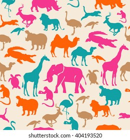 Colorful pattern african animals seamless