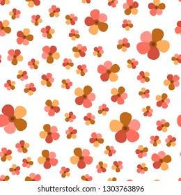 Colorful Pattern with Flowers Living Coral color. For your design, textile, pattern fills, posters, cards, background etc. Elements are not cropped. Pattern under the mask. Vector.