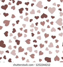 Colorful Pattern with Hearts  in chocolate color. Elements are not cropped. Pattern under the mask. Vector. Perfect design for textile, box, posters, cards, web etc.