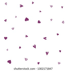 Colorful Pattern with Hearts Dark moderate pink color. Endless pattern can be used for design, textile, pattern fills, posters, cards, web page background etc. Pattern under the mask. Vector.