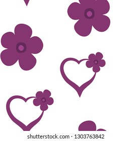 Colorful Pattern with Hearts and Flowers Dark moderate pink color. For your design, textile, pattern fills, posters, cards, background etc. Elements are not cropped. Pattern under the mask. Vector.