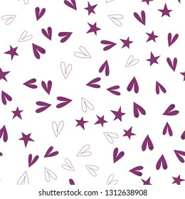 Colorful Pattern with Hearts and Stars Dark moderate pink color. This pattern can be used for design, textile, pattern fills, posters, cards, web page background etc. Pattern under the mask. Vector.