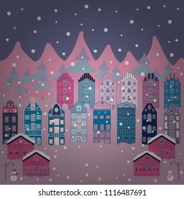 Colorful pattern with house, trees, snowman, mountains and hills. Illustration on neutral, violet and blue colors. Nice nature landscape concept. Perfect for kids fabric, nursery wallpaper. Vector art