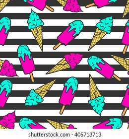 Colorful pattern of ice cream on a striped background in pop art style