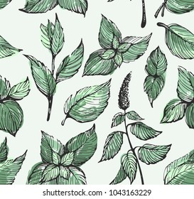 Colorful pattern with mint leafs