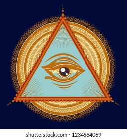 Colorful pattern for print t shirt. Hypnotic circles and triangle with all seeing eye.
