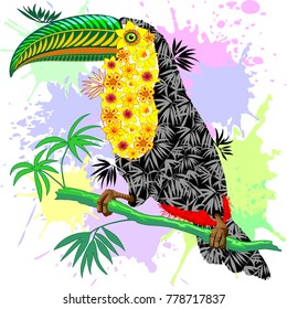 Colorful Patterned Exotic Toco Toucan from Amazonia Rainforest, created on Vector Graphic Art Technique, assembling leaves, flowers, plants to compose the Wild Bird.