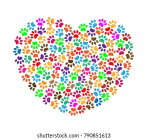 Colorful Paw Prints Heart Symbol