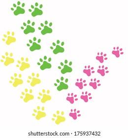 colorful paws. animal print. vector illustration