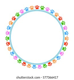 Colorful paws animal round frame with empty space for your text and images.