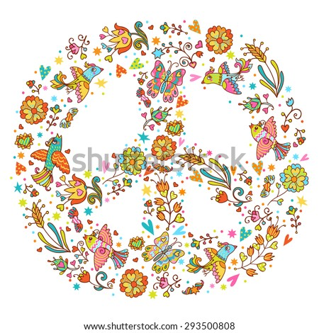 Colorful Peace Symbol Made Love Birds Stock Vector Royalty Free