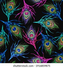 Colorful peacock feathers. Embroidery. Tropical birds art. Seamless pattern. Fashion template for clothes, textiles, t-shirt design