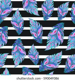 Colorful peacock feathers or stylized leaves on stripes background, seamless pattern