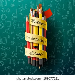 Colorful pencil crayons with text Back to school on ribbon, vector illustration.