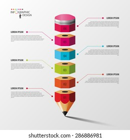Colorful pencil Infographics step option. Vector illustration.