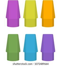 Colorful Pencil Top Erasers Illustration - Set of 6 neon colored pencil top erasers isolated on white background