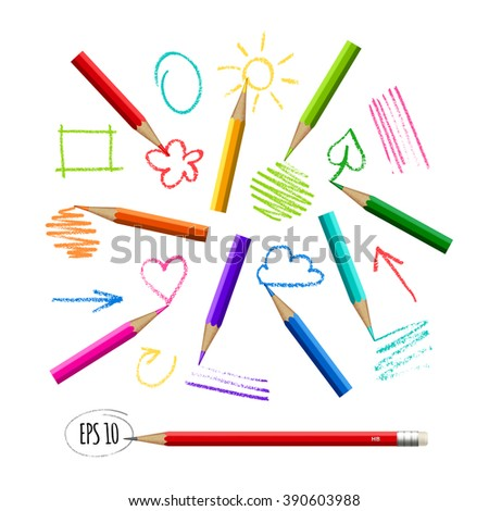 Colorful Pencils All Colors Rainbow Sketches Stock Vector Royalty