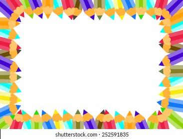 Colorful pencils frame. Vector illustration