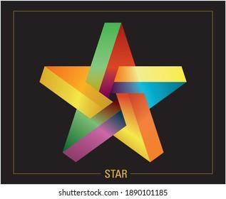 Colorful pentagram star. Vector illustration.