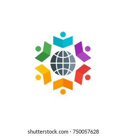 Colorful People Book with Global Symbol Logo Vector Design