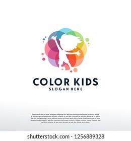 Colorful People Care logo vector, Children Love logo designs template, design concept, logo, logotype element for template