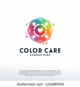 Colorful People Care logo vector, Children Love logo designs template, design concept, logo, logotype element for template