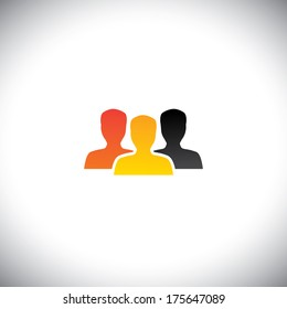 colorful people concept vector of team, teamwork & community. This graphic icon also represents business concepts like office staff, corporate employees, students, meeting, unity, solidarity, etc