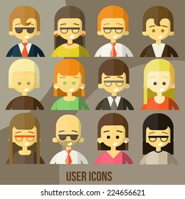 Colorful people Faces Circle Icons Set in Trendy Flat Style