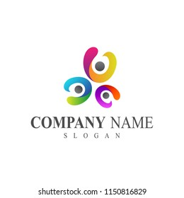 colorful people group logo template