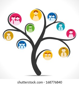 colorful people icon tree background vector