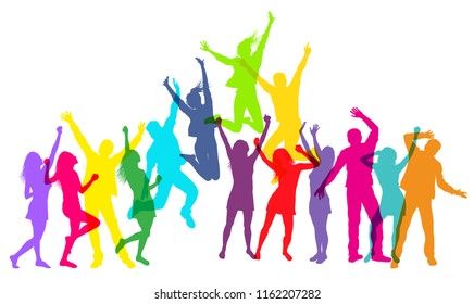 Colorful People jumping and dancing. Vector illustration