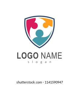 Colorful People Shield Logo, Family Protection Logo, Healthy Family Logo
