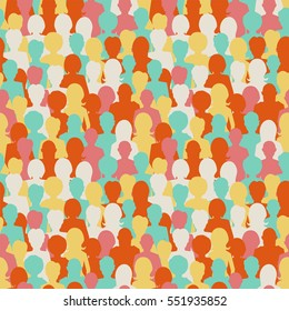 A lot of colorful people silhouettes, crowd of people seamless pattern